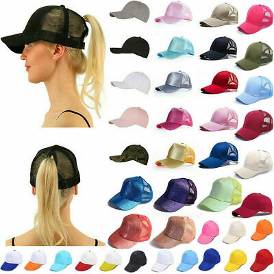 c1ed6ca1b9aa9 Glitter Ponytail Baseball Cap Womens Messy Bun Adjustable Snapback Hip Hop  Hat N
