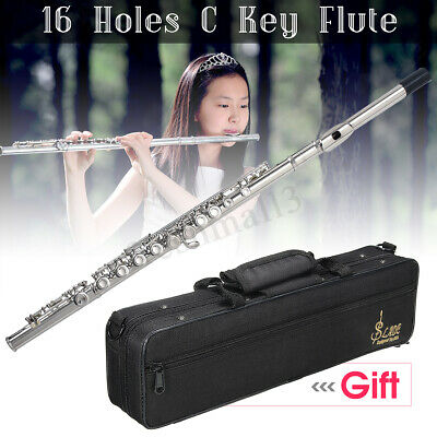 Concert Flute Silver Plated 16 Holes C Key Cupronickel Woodwind Instrument 2019