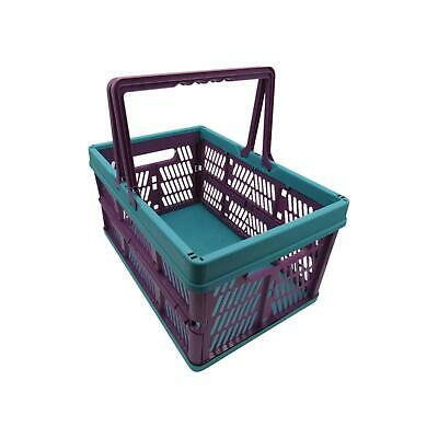 Small Strong Multipurpose Folding Plastic Shopping Basket - Storage Crate