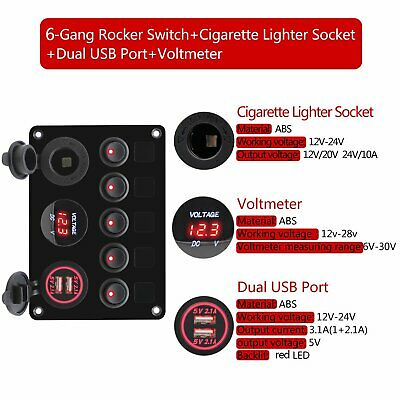 inline fuse box red led 5 gang rocker switch panel 2 usb charger socket  marine