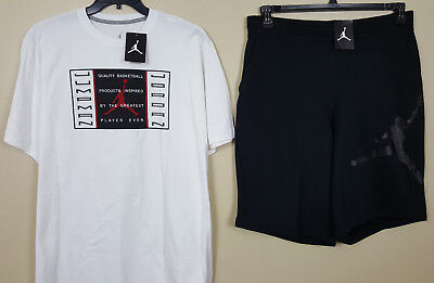 89ae6beee5f1 Nike Jordan Xi Retro 11 Bred Outfit Shirt +Shorts White Black Red New (Size