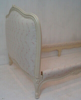 A French Vintage Louis XV Single Day Bed upholstery in Peony and Sage Linens