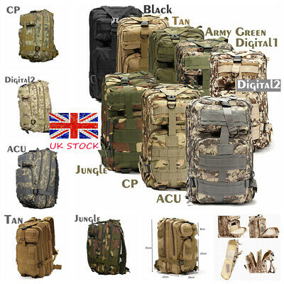 30L Military Molle Backpack Rucksack Army Tactical Assault Camping Hiking Bag