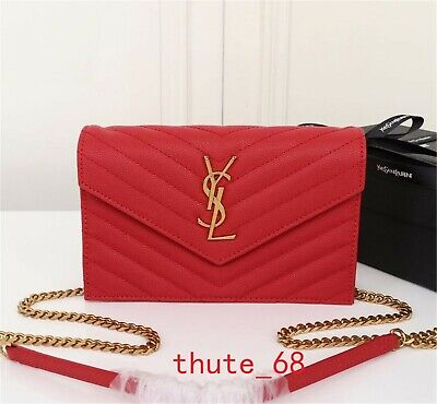 5a3edfe9de3 AUTHENTIC YSL Saint Laurent Monogram Wallet Chain Bag Shoulder Bag red  leather