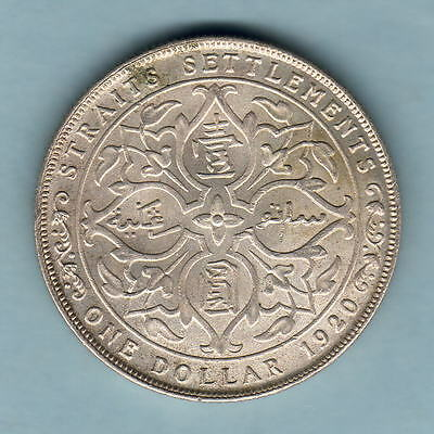 Straits Settlements. 1920 One Dollar..  Much Lustre..  gEF/aUNC