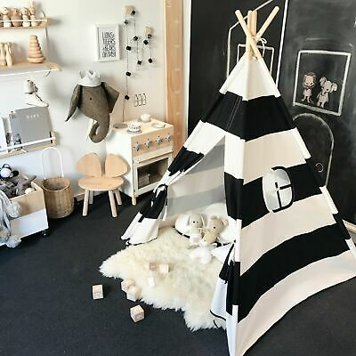 Kids Giant 100% Cotton Canvas TEEPEE WIGWAM Childrens Indoor Play Tent House