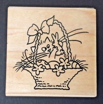 Rare Stampendous Fluffles the Cat Rubber Stamp Easter Chocolate Bunny Basket