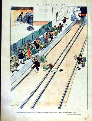 Old Antique Print Le Rire (The Laugh) French Humor Magazine Railway Train
