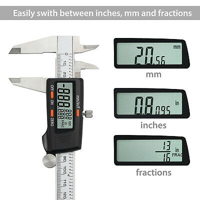 150mm Electronic Digital Vernier Caliper Stainless LCD Gauge mm/ inch/ Fractions