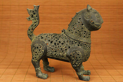 Rare Big chinese old Bronze Hand Casting Dragon Cat Statue Incense Burner f01