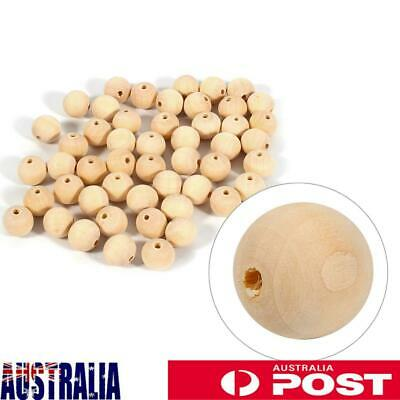 50 Pcs 20mm Natural Wood Beads Unpainted Round Wooden Beads with Hole AU