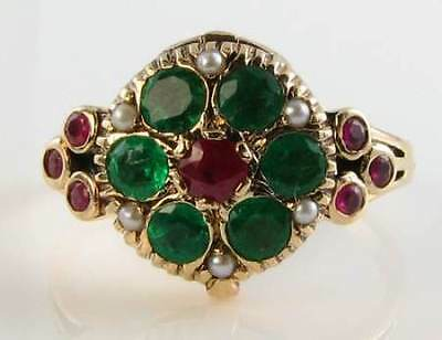 Divine 9Ct 9K Gold English Ruby Emerald Pearl Locket Poison Ring Free Resize