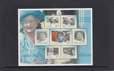 PAPUA NEW GUINEA  2002 QUEEN MOTHER MEMORIAL MINISHEET of 7 Stamps MNH - C