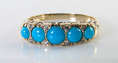 9K 9Ct Gold Persian Turquoise Diamond Art Deco Ins Eternity Ring Free Resize