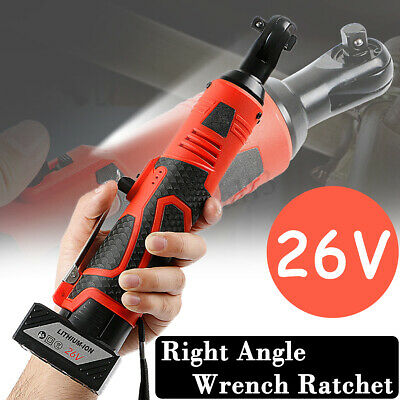 26V 3/8'' Rechargeable Cordless Electric Ratchet Wrench Right Angle Wrench Tools