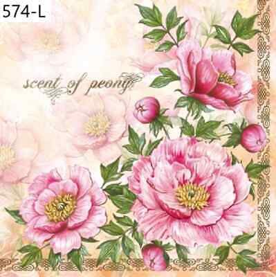 TWO New Paper Luncheon Decoupage Napkins - PEONY, FLOWERS, FLOWER, (574)