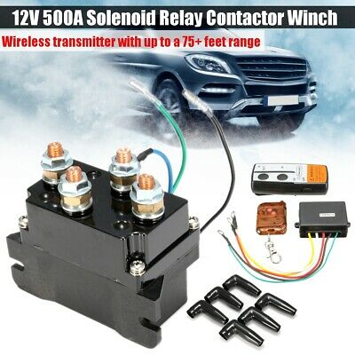 Solenoid Relay Contactor Winch Rocker Wireless 75ft Remote Control Key Fob 500A