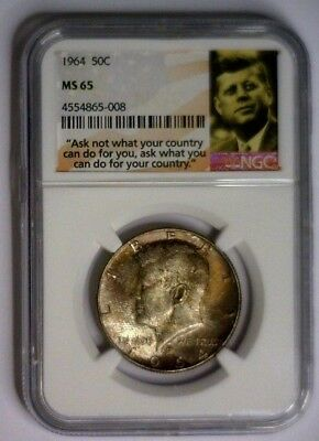 1964 P Kennedy NGC MS65 Silver Half Dollar Great Obverse Toning MS 65 #008
