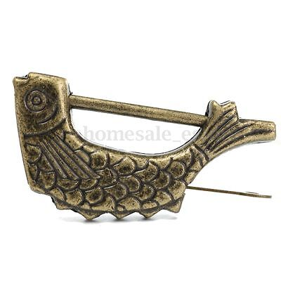 Vintage Brass Chinese Old Style Fish Lock & Key Antique Collectibles Jewelry