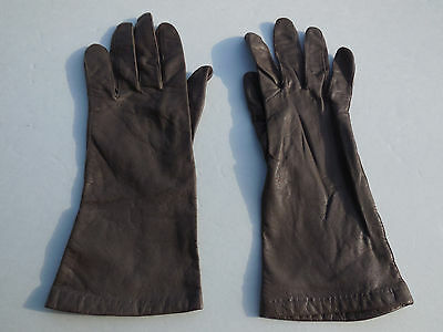 **Aris Ladies  Brown Buttery Soft Leather Silk Lining Gloves Size 6.5
