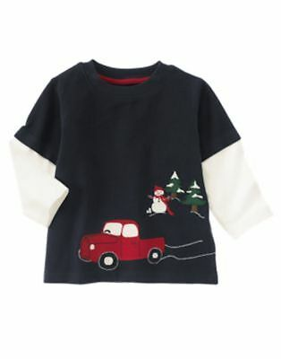 Gymboree SNOW CHILLIN double sleeve truck and snowman tee size 3-6 months NWT