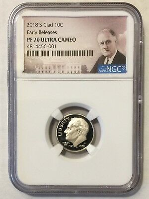 2018-s NGC PF70 CLAD ROOSEVELT DIME .10 PROOF EARLY RELEASES PF 70 ULTRA CAMEO