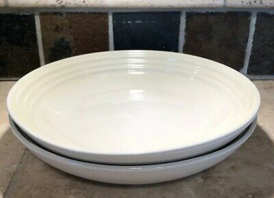 """Dune"" Set of 2 LE CREUSET Large 9.75"" Pasta Bowls Stoneware NWT Dinnerware"