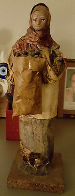 estate auction folk art old lady statue sculpture figure  made of paper
