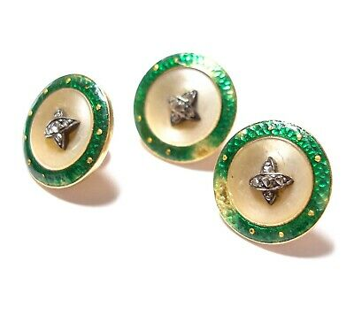 Beautiful Antique Victorian Or Edwardian 14 Ct - 18 Ct Gold & Diamond Buttons Af