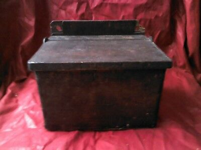 ANTIQUE PRIMITIVE OLD HAND CARVED WOODEN HANGING BOX FOR SPICES 1950s