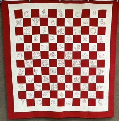 Pictorial 1900 Ella May Findlay ANTIQUE Quilt Redwork SMALL Scale Checkerboard