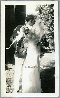#692 A Promise of Things to Come! Kissing Bridal Couple, Man-Woman Vintage Photo