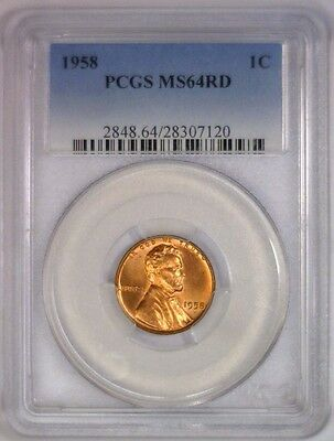 1958 Lincoln Wheat Cent Wheatback BU Penny UNC ~ PCGS MS64 RD MS 64 Red #120