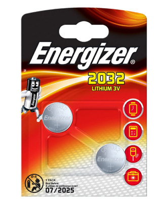 2 Pack Energizer CR 2032 3V Lithium Button Coin Cell Battery 2032 CR2032 Cell