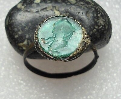 Ancient Roman Bronze Ring Intaglio Original Authentic Antique Rare R546