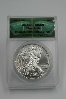 2011 2012 2013 S 3-coin American Silver Eagle ANACS MS69 Set