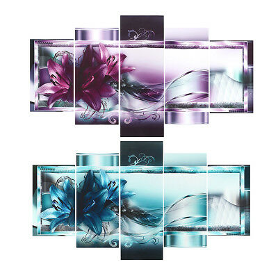 5 Panel Canvas Print Modern Abstract Flower Picture Giclee Wall Art Home Decor !