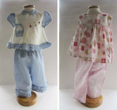 Vintage 1950's 60's baby trouser matching tops pink blue gingham age 1-3