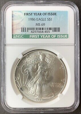 1986 $1 American Silver Eagle Dollar NGC MS69
