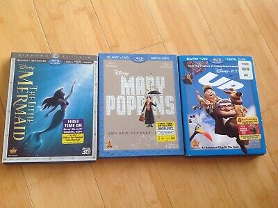 The Little Mermaid, Mary Poppins, UP blue ray + 3d set-3 read description
