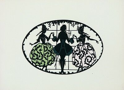 VINTAGE GERMAN 1930s Scherenschnitte Paper Cut with Satin GENTLEMAN & TWO LADIES