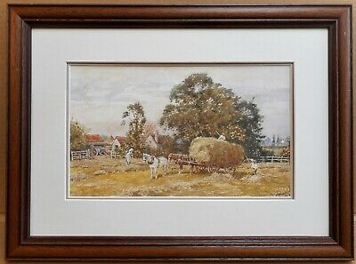 Haymaking. Original Watercolour by listed Yorkshire artist John Cecil Lund c1980