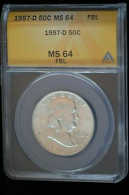 1957-D Benjamin Franklin Half Dollar MS- 64 with Full Bell Lines-no water sports