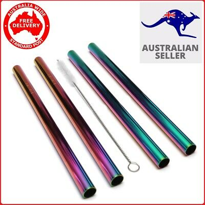 Stainless Steel Metal Reusable Extra Wide Bubble BOBA Tea 4 Jumbo Rainbow Straws