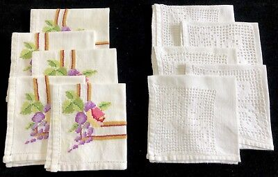Two Vintage Sets of 5 Napkins, White w/ Crochet Inset & Floral Embroidery (RF836
