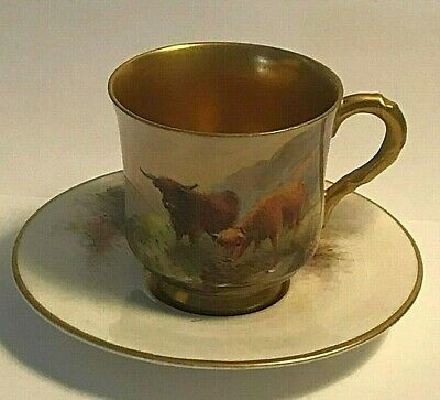 Antique Royal Worcester Cup and Saucer Painted Cows Mini Demitasse Signed