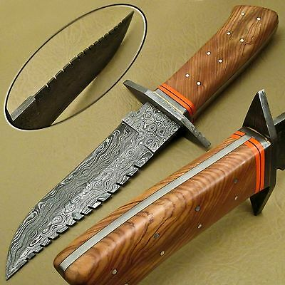 Custom Made Damascus Full Tang Hunting Skinning Knife - Olive Wood - {Qn-25}