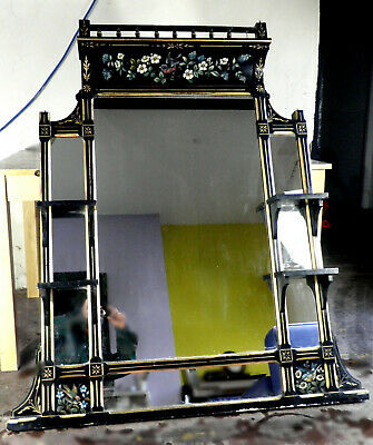 Victorian Over Mantle Large Black and Gilt Mirror with Floral Hand Painting