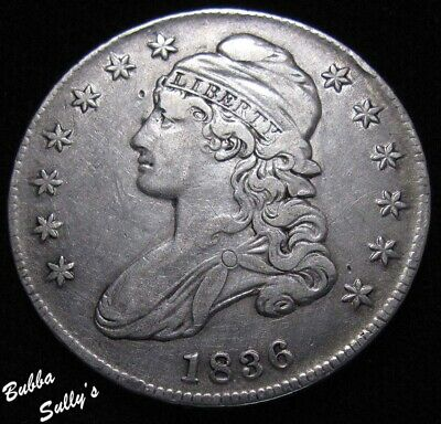 1836 Capped Bust Half Dollar <> Lettered Edge <> VF Details