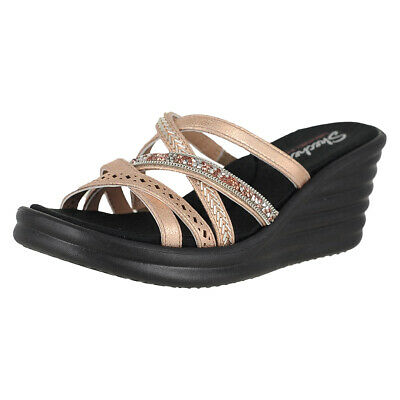 722cb2cec5 Skechers Rumblers Wave - New Lassie Rosegold Womens Wedge Sandals Size 9.5M